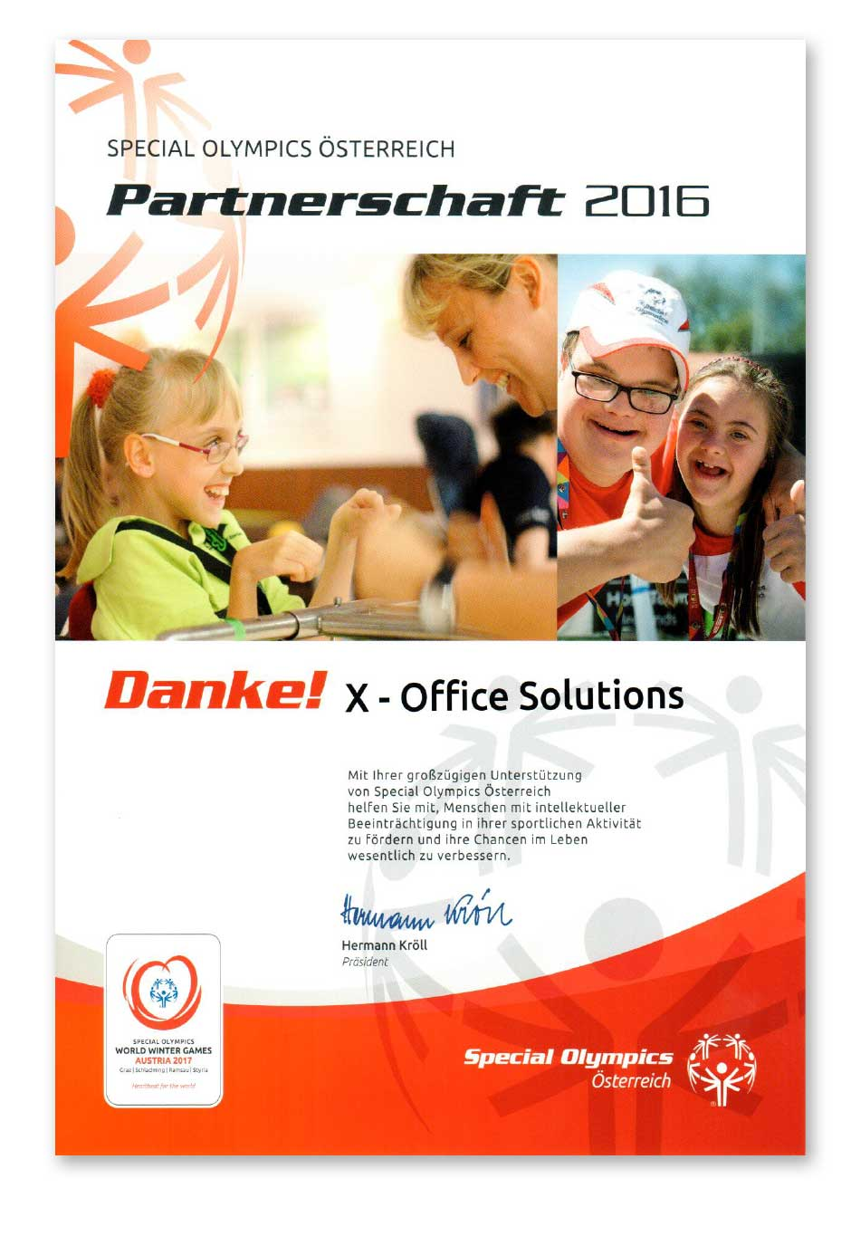 X - Office Solution Parternschaft mit Special Olympics