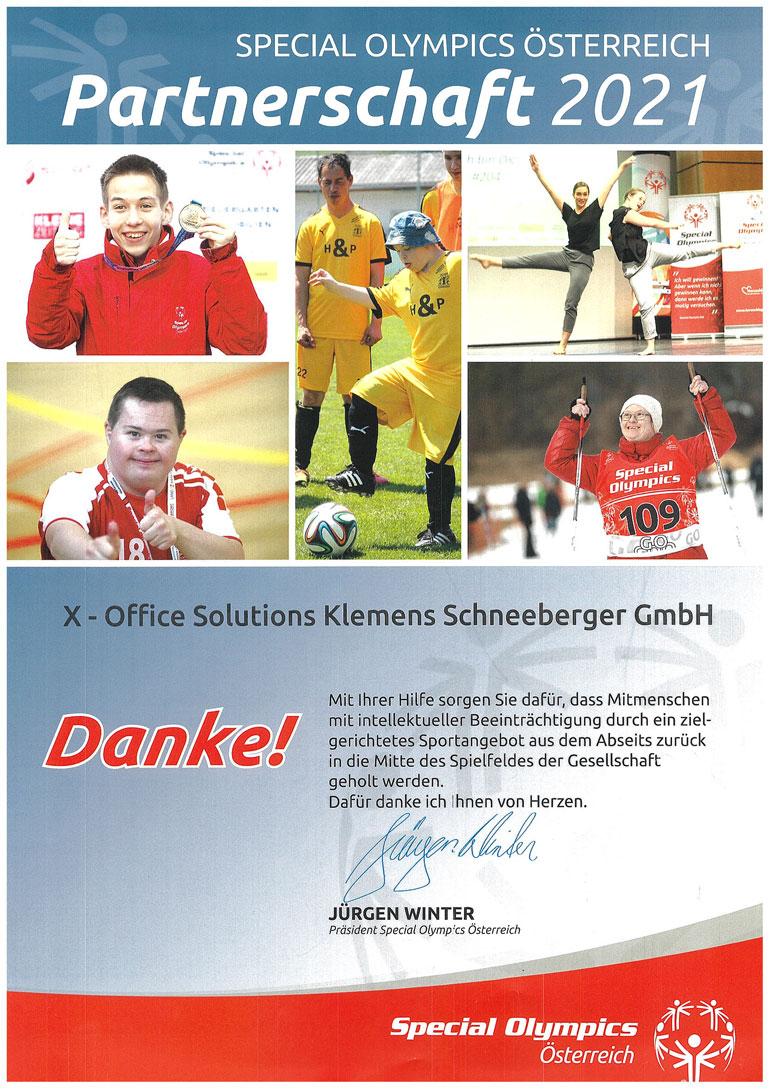 Special Olympics Partnerschaft 2021