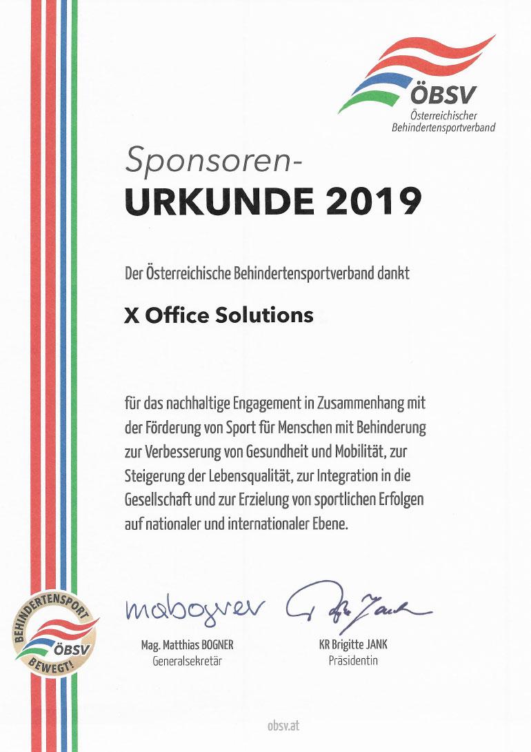 Förderung Behindertensportverband 2019
