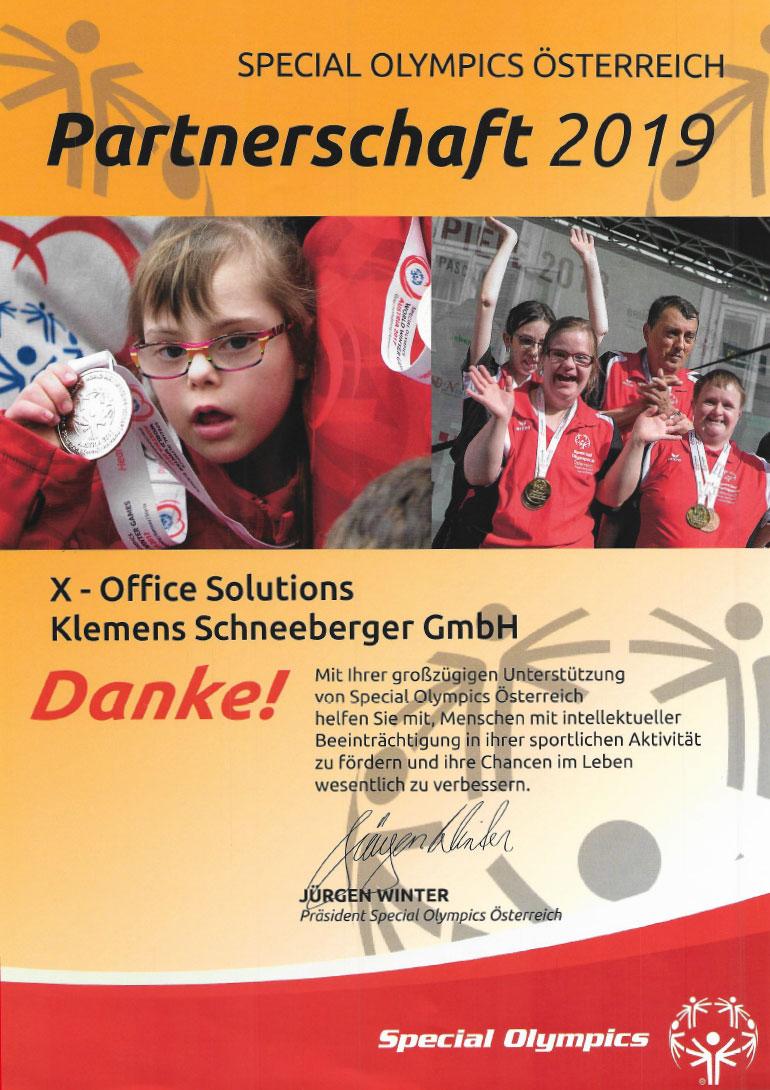 Special Olympics Partnerschaft 2019